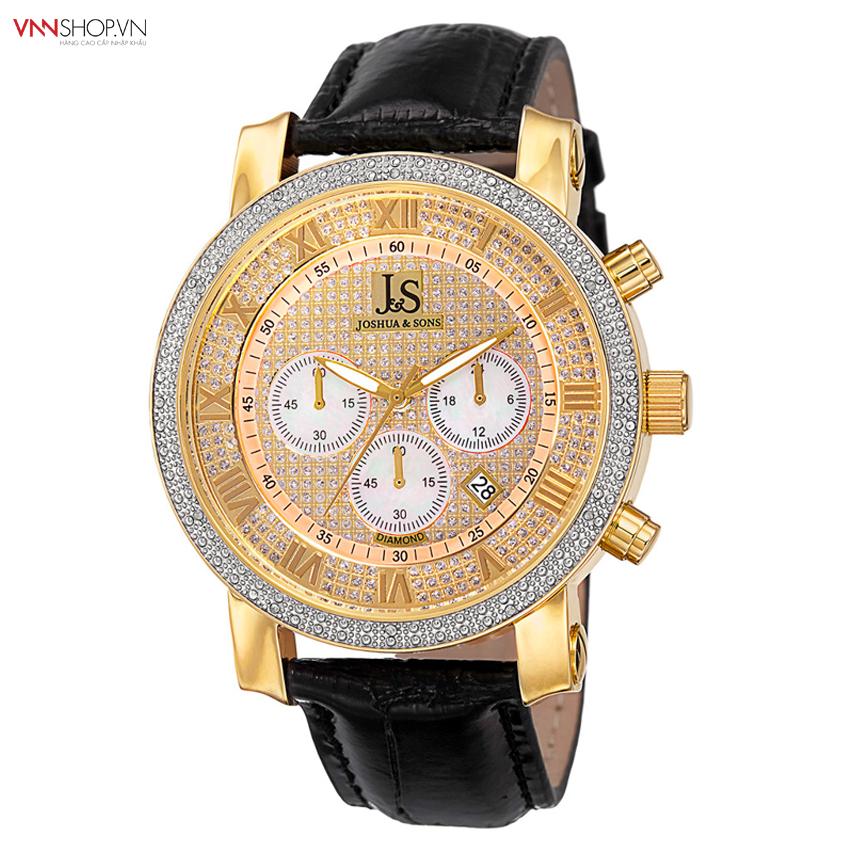 Đồng hồ nam Joshua & Son`s - JS-28-YGBK mặt đính đá, hiện thị 3 đồng hồ chức năng, dây da mầu đen