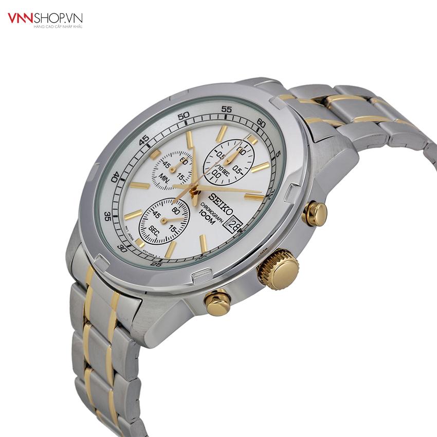 Đồng hồ nam Seiko - SKS423P1 hiện thị 3 đồng hồ chức năng, dây kim loại bạc kẻ sọc vàng