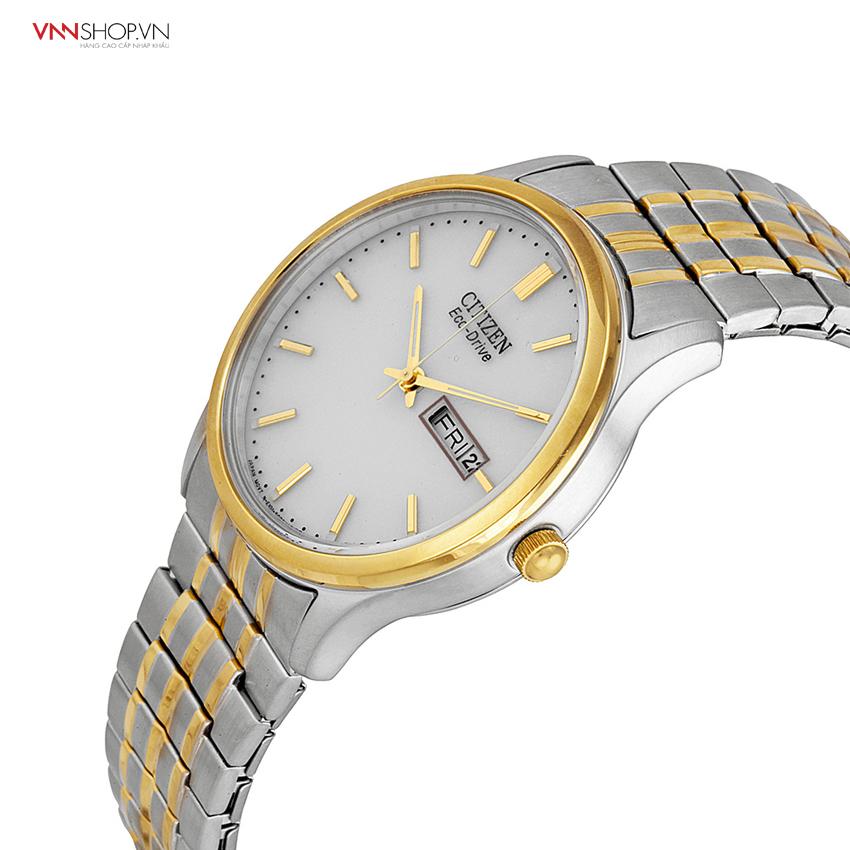 Đồng hồ nam CITIZEN dây kim loại bạc hoạ tiết sọc vàng