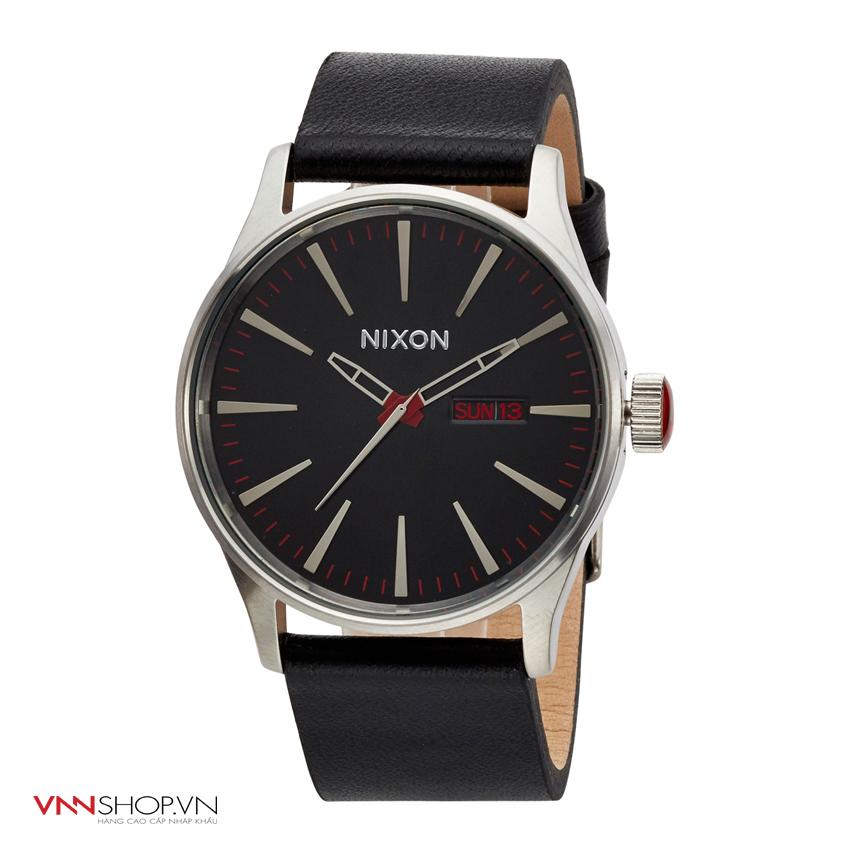 Đồng hồ nam NIXON mặt đen/đỏ, dây da đen