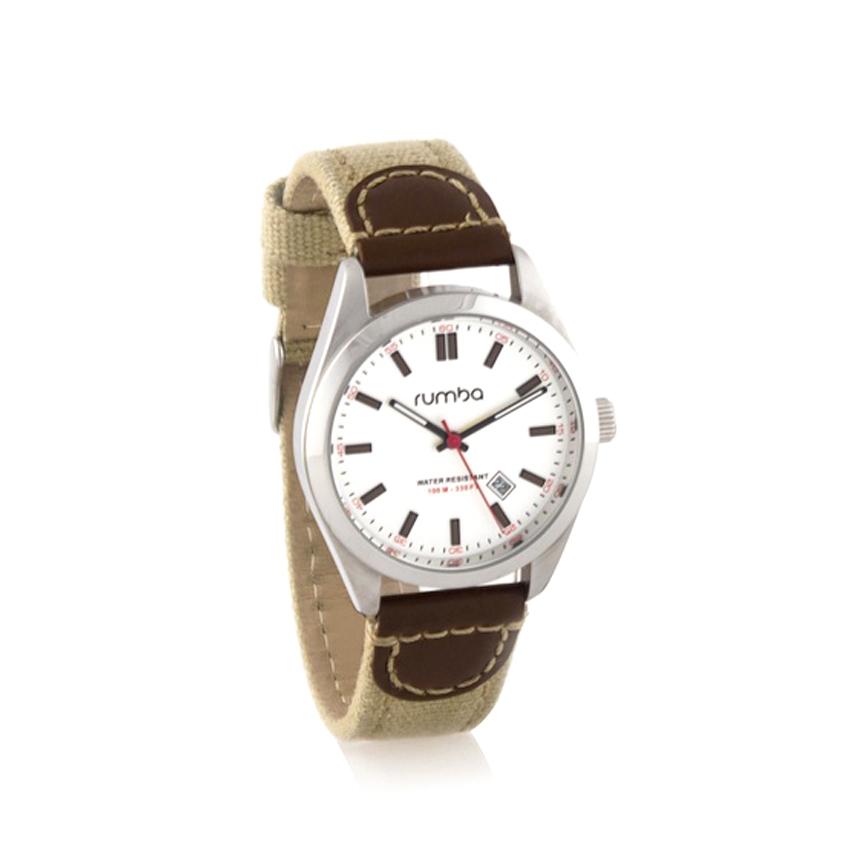 Đồng hồ nam trắng bạc RumbaTime 19121 dây đeo kaki nâu vàng