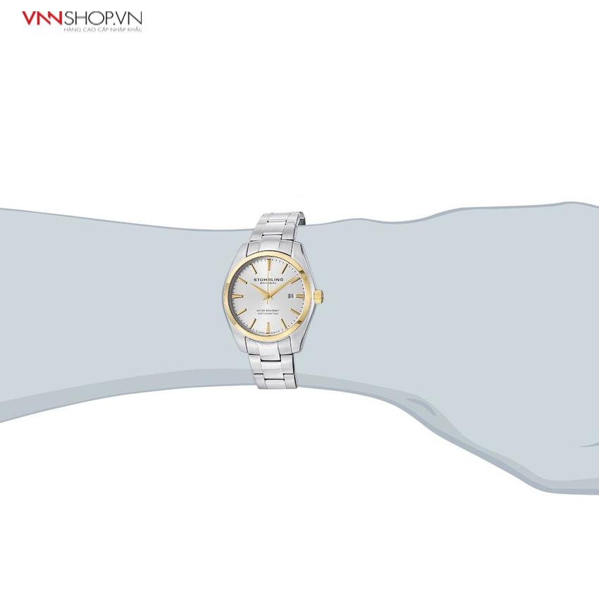 Đồng hồ nam Stuhrling - 414.3331 viền vàng, dây kim loại bạc