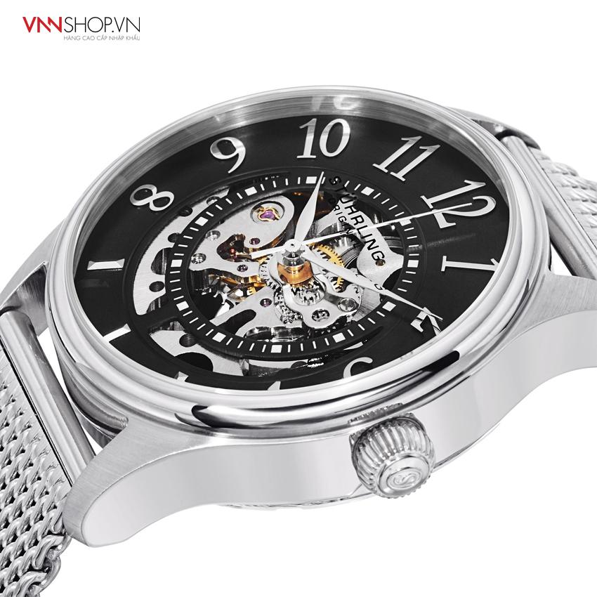 Đồng hồ nam Stuhrling mặt kính hiển thị động cơ, dây kim loại bạc