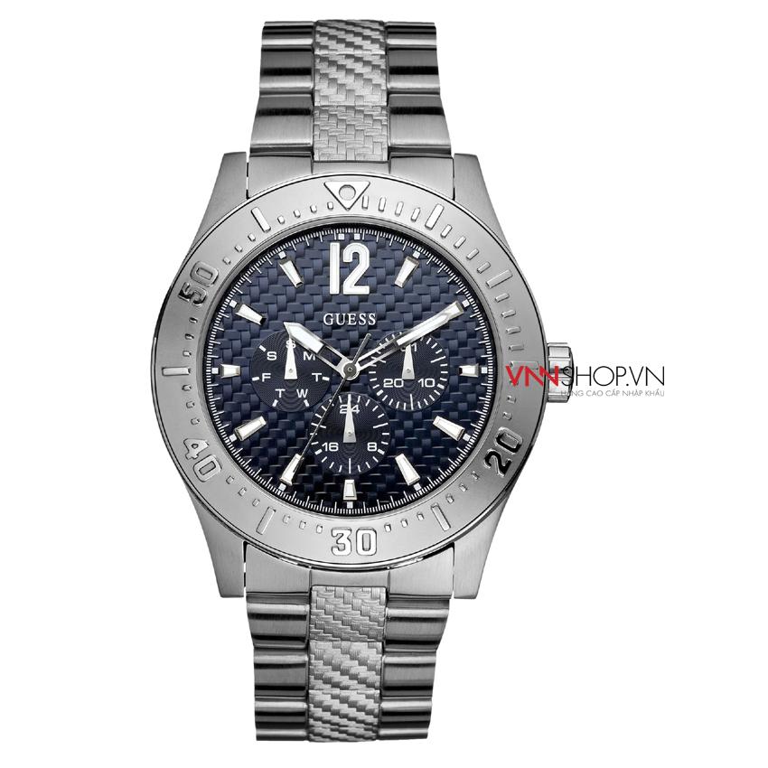 Đồng hồ nam Guess mặt xanh navy hiển thị 3 đồng hồ chức năng, dây kim loại bạc